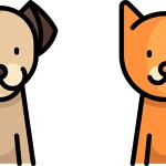 Flat icon chien et chat